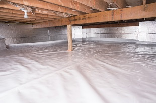 A complete crawl space vapor barrier in Highlands installed by our contractors